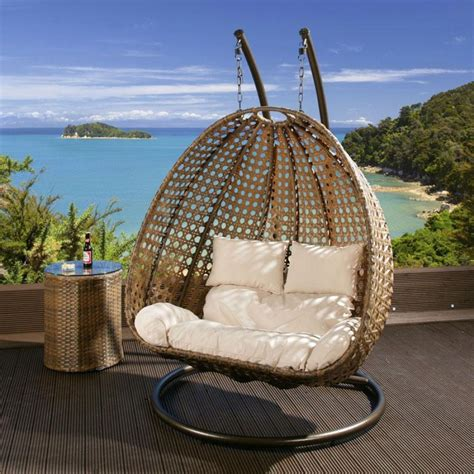 outdoor hanging chairs outdoor 2 person garden hanging chair brown rattan cream cushion 2014 cream cushion covers