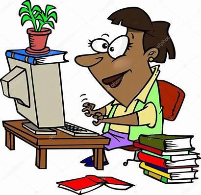 Working Cartoon Woman Writing Illustration English Register