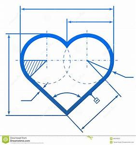 Heart Symbol With Dimension Lines Stock Photography