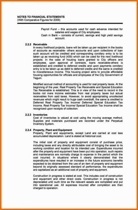 notes   financial statements template