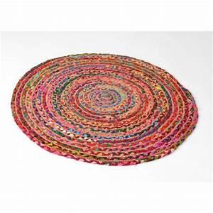 Tapis Rond Tressé : tapis de sol rond artisanal tress jute et coton color d90cm ~ Teatrodelosmanantiales.com Idées de Décoration