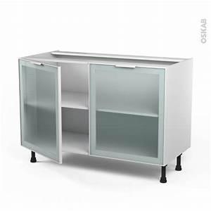 meuble de cuisine bas vitre facade blanche alu 2 portes With meuble bas cuisine 120 cm 15 cuisine nebraska