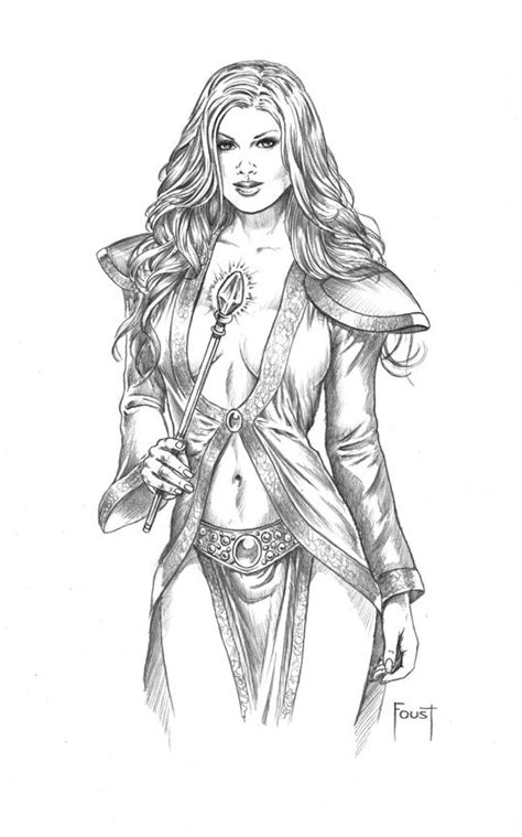 Sorceress | Fantasy women, Adult coloring book pages, Sketches