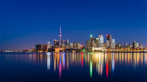 toronto skyline  night images android wallpapers
