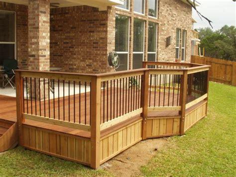 exterior cedar deck railing composite wood glass deck
