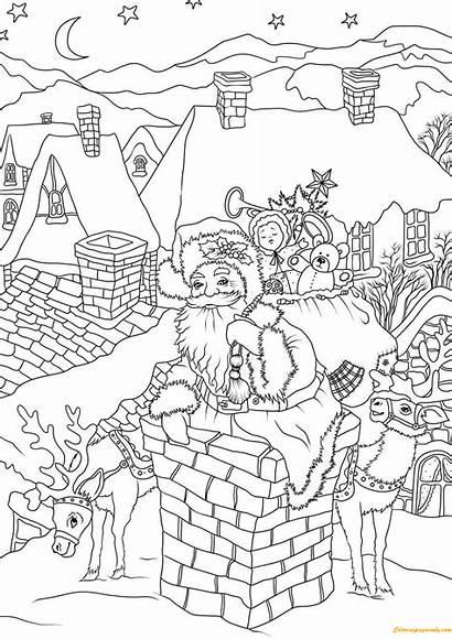 Santa Coloring Claus Pages Christmas Chimney Down
