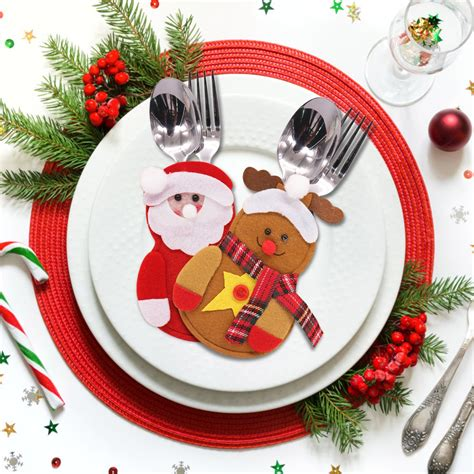 tableware bag christmas section tree diy knife decoration snowman elk heart elderly cutlery 1pcs shaped pocket dinner pouch party