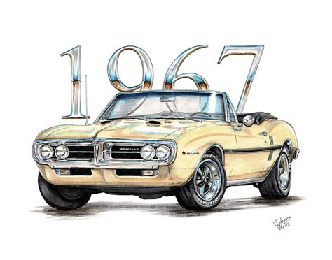 1967 Firebird Ho Convertible Drawing by Shannon Watts