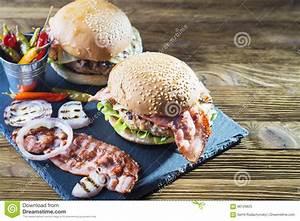 Fresh tasty burger. stock image. Image of grill, burger ...
