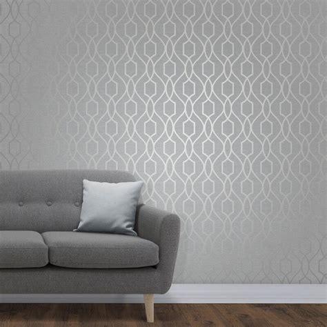 Furniture Wallpaper by Decor Apex Trellis Silver Metallic Wallpaper