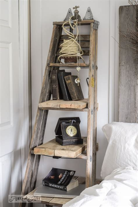 table side stepladder ladder upcycled shelves junk rack funkyjunkinteriors ladders wooden decorating step funky shelf repurposed wood repurpose decorate upcycle