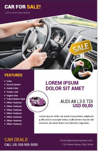 car  sale flyer templates  ms word word excel