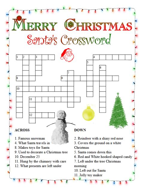 christmas crossword puzzles  coloring pages  kids