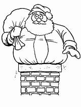 Santa Chimney Stuck Coloring Pages Christmas Yahoo Claus Found sketch template