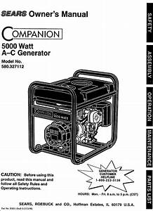 Craftsman 580327112 User Manual 5000 Watt A C Generator