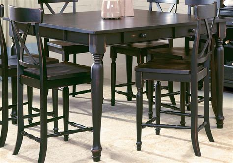 bar dining table set benchwright bar height table rustic mahogany dining room