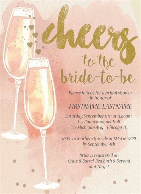 modern bridal shower invitation idea blush gold