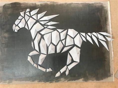horse paper 3d poly low horses instructables glue fa