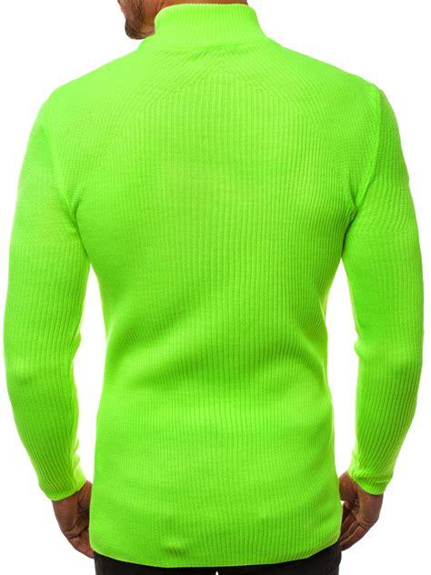 Vīriešu svīteris pus-golfs zaļi-neona OZONEE MACH/TRK2000 ...