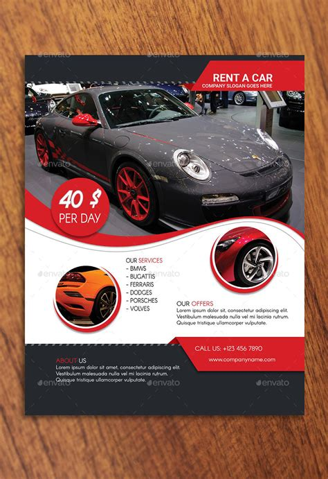 rent  car flyer template  creativemoon graphicriver