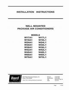 Bard W30a1 Air Conditioner User Manual