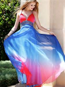 gorgeous halter neck floor length red and blue ombre