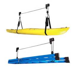 kayak hoist pulley system bike lift garage ceiling storage rack free rope au ebay
