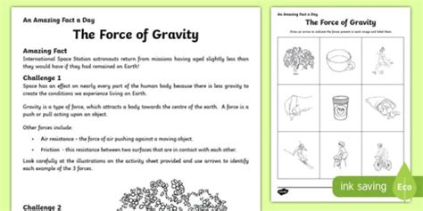 the of gravity worksheet activity sheet worksheet