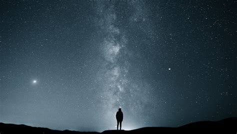 Wallpaper Stars Milky Way Alone Landscape Night Sky
