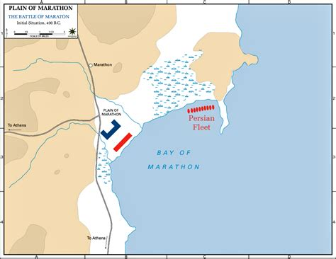 Map Of The Battle Of Marathon  Initial Situation, 490 Bc