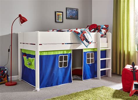 bunk beds with desk tinsley midsleeper with blue tent single dreams