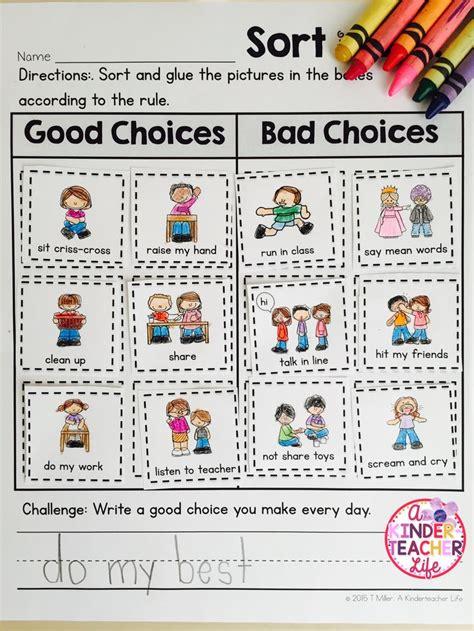 school good choices  bad choices sort