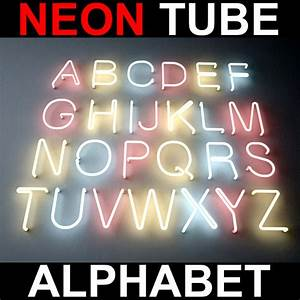 neon tube sign bulb light 3d model With neon tube letters