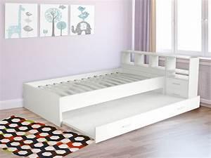 Lit Enfant Dimension : lit oxford 90 x 190 cm blanc 85884 ~ Teatrodelosmanantiales.com Idées de Décoration