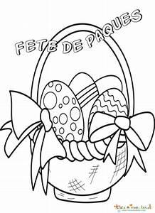 Oeuf Paques Dessin : coloriage de paques lapin oeuf panier ~ Melissatoandfro.com Idées de Décoration