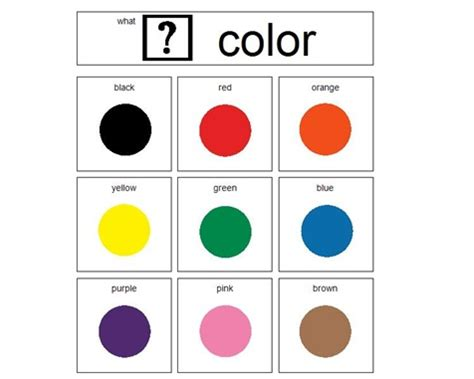 Color Choice Board  Autism Pinterest