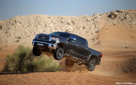 toyota tundra jump stop action truck  road hd wallpaper