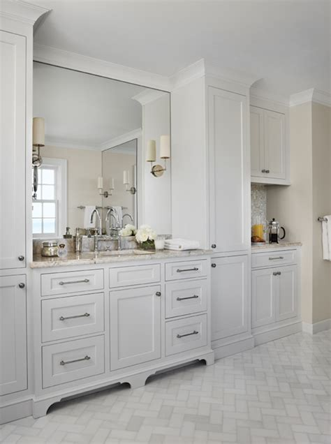 Backsplash Ideas For Off White Cabinets by Marble Herringbone Floor Traditional Bathroom