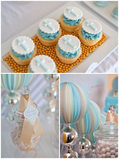 blue christening decorations pretty blue and gold boy s christening sweet table