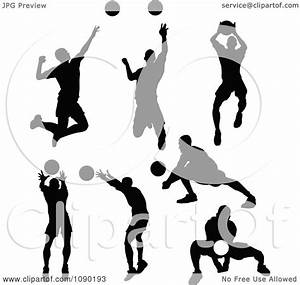 Clipart Silhouetted Male Volleyball Players - Royalty Free ...