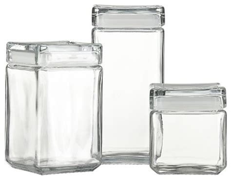Stackable Glass Storage Jars  Modern  Kitchen Canisters