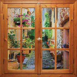 Image Trompe L Oeil : stickers fen tre trompe l 39 oeil ruelle fleurie art d co ~ Melissatoandfro.com Idées de Décoration