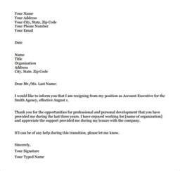 Formal Resignation Letter Sample Template
