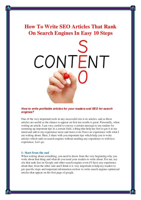 Seo Articles - how to write seo articles that rank on search engines in