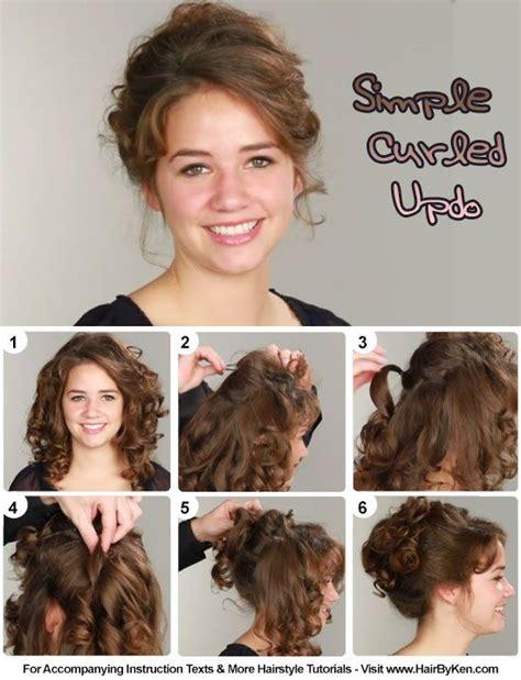 tutorial simple curled updo hair in 2019 curly hair