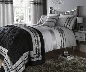 silver diamante quilt duvet cover pillowcases bedding bed sets new ebay