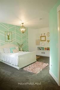 Little, Girls, Mint, And, Gold, Bedroom, Harringbone, Wall, Kids