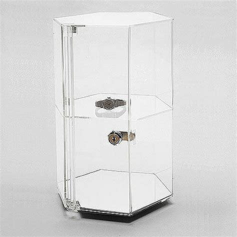 Countertop Showcases - acrylic countertop revolving showcase hexagonal w one