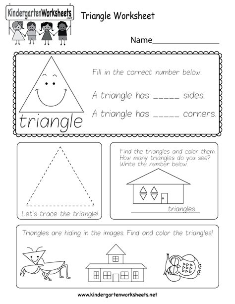Triangle Worksheet  Free Kindergarten Geometry Worksheet For Kids