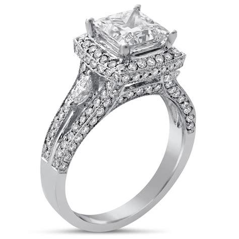 princess cut split shank style diamond engagement ring p51